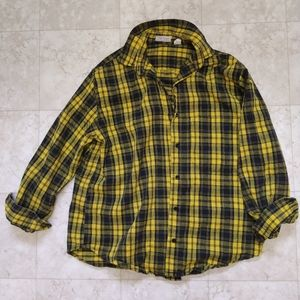 Townhouse yellow navy blue plaid button up